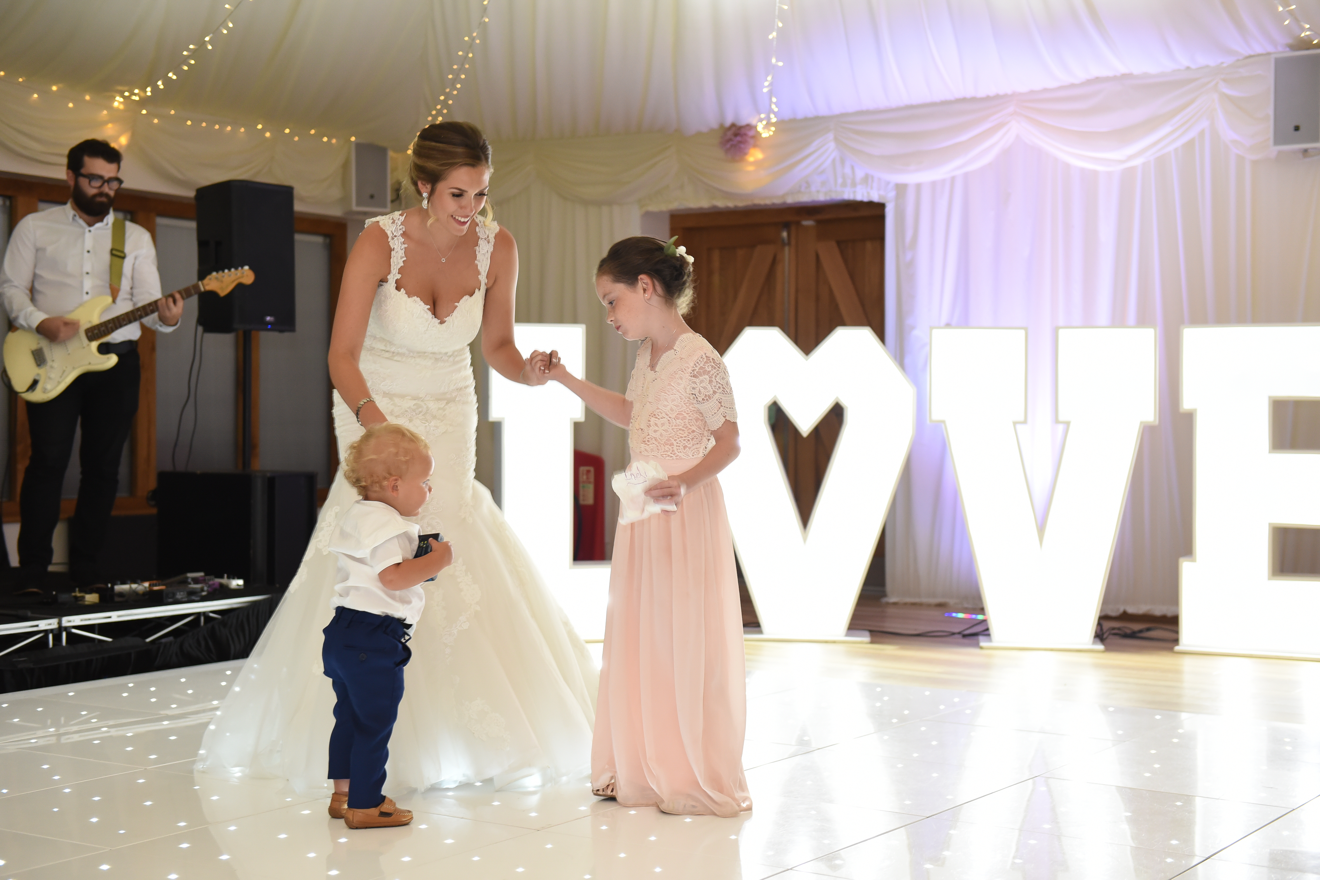 Bride Dancing With Children on the Dance floor at Wedding at Ivy House Country Hotel