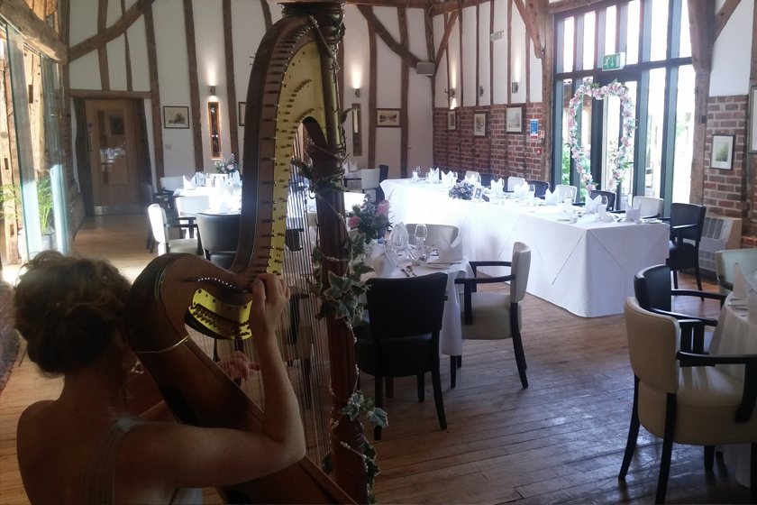 Woman playing the harp for a wedding in Oulton Broad