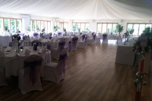 Wedding space set up with tables and chairs
