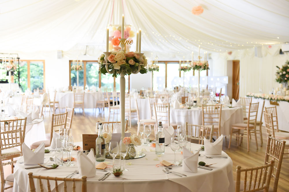 Tables beautifully set for a wedding in one of our venue spaces