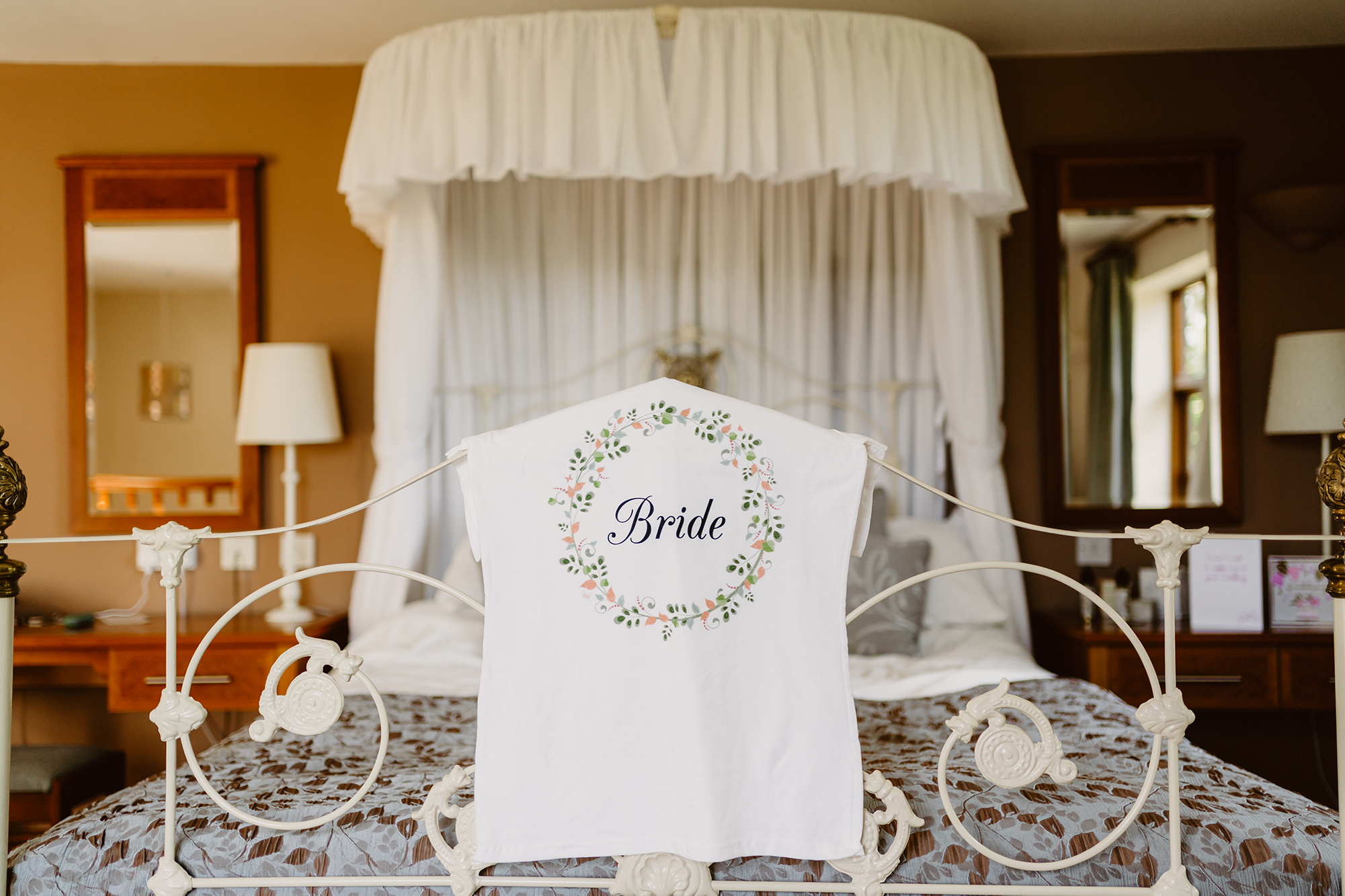 """Bridal Party Photos of Embroidered """"Bride"""" Towel at Ivy House Country Hotel"""