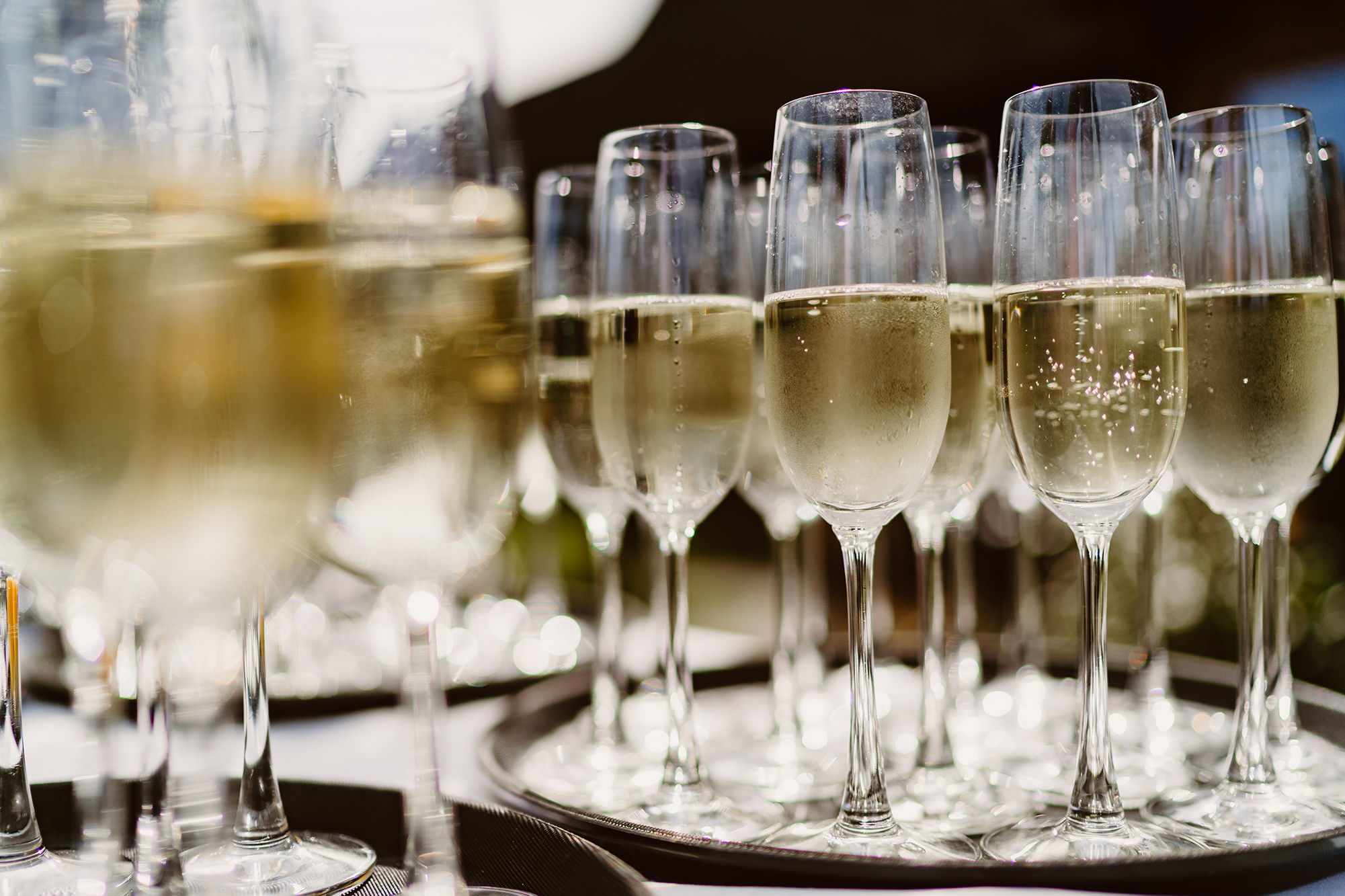 Tray of Champagne for Toast at Ivy House Country Hotel