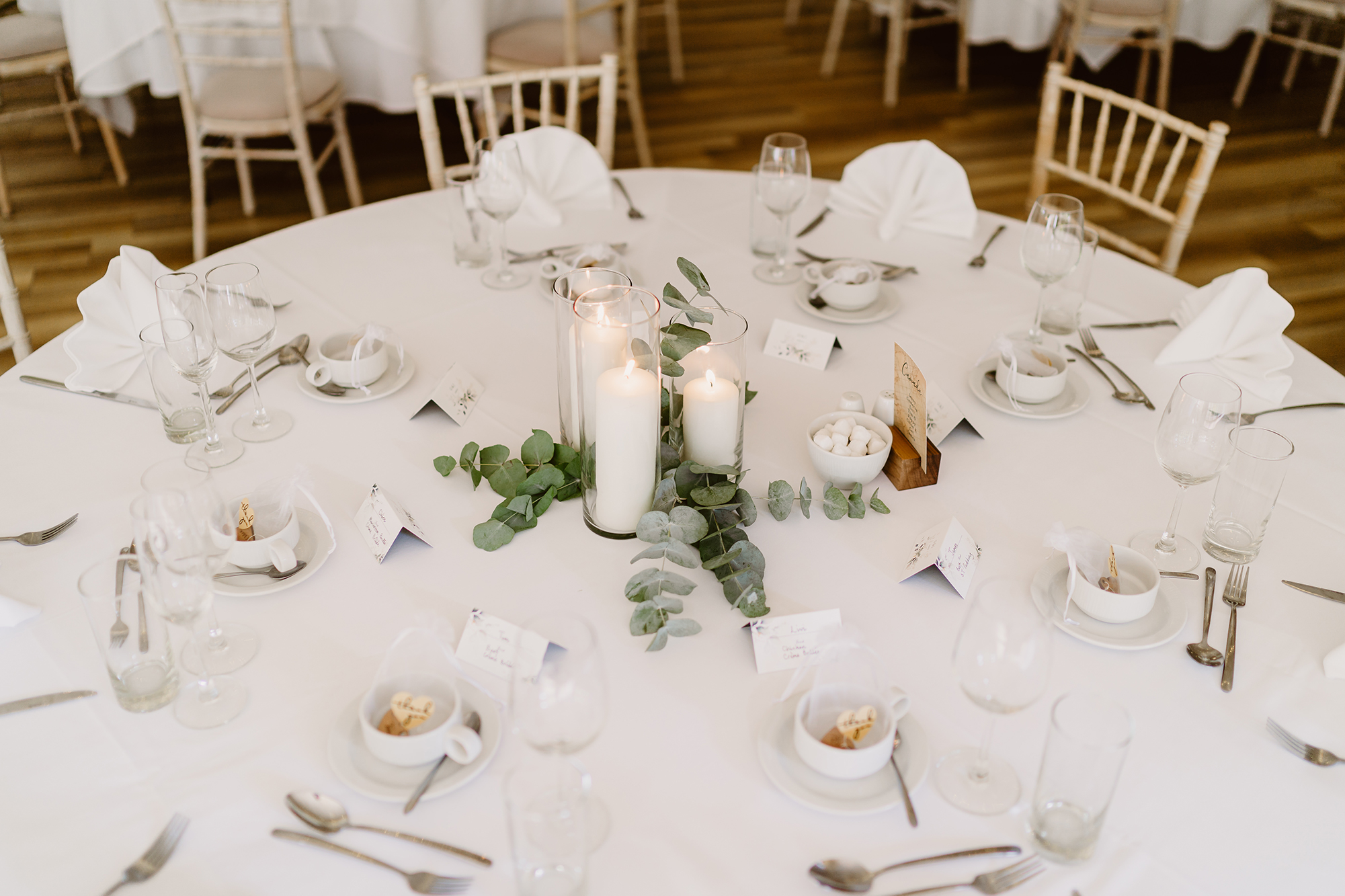 Classic Wedding Table Setting With Eucalyptus Center Piece at Ivy House Country Hotel