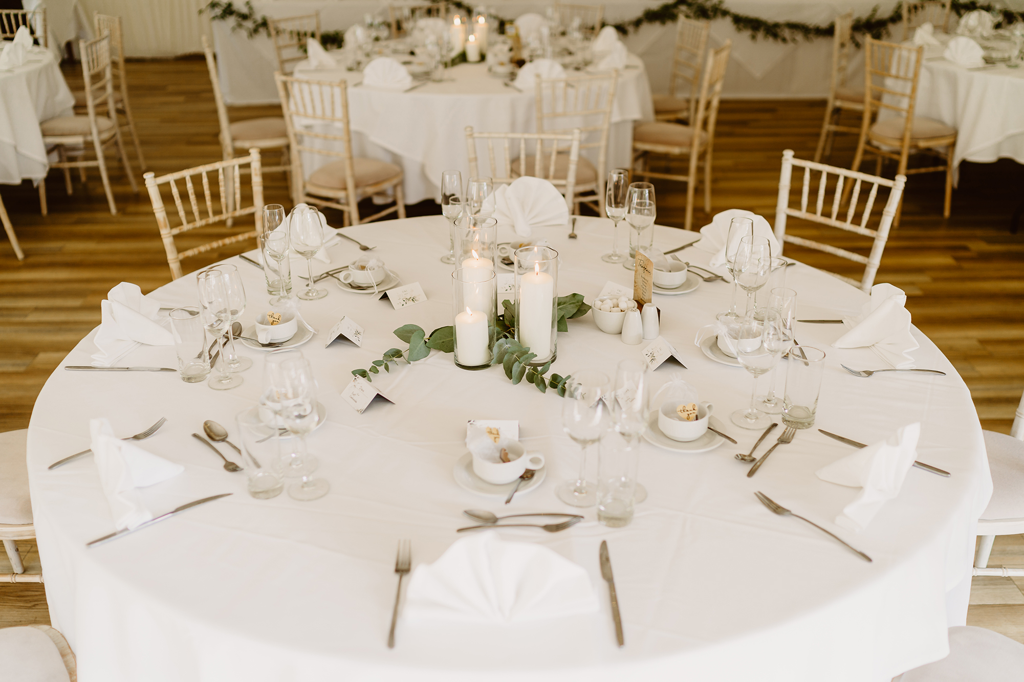 Wedding Table With Eucalyptus Center Piece at Ivy House Country Hotel