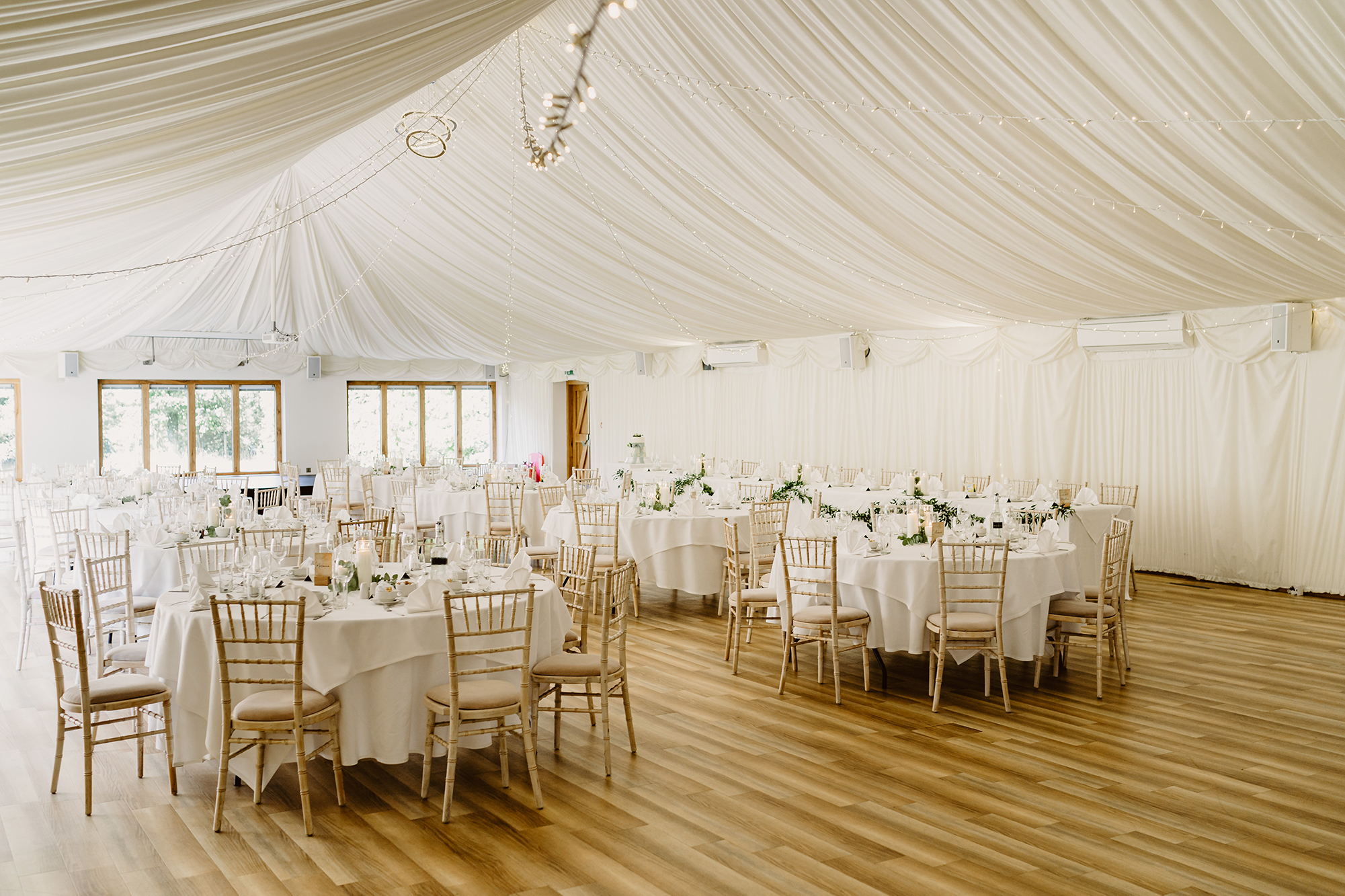 Wedding Tables Inside White Tent at Ivy House Country Hotel